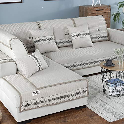 Multi-Size Schnitt Sofa Überwürfe Slipcover Couch Sicher fit Sofa Abdeckung Weich Loveseat 2 3-sitzer Abdeckung Ecke Linken Lounge-Creme Farben 110x240cm(43x94inch) -