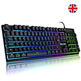 Luibor Gaming keyboard,Rainbow Breathable RGB LED Backlight USB Wired Gaming Keyboard,21 Keys Anti-slipping