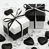 Boxen, Kartons, Kästchen mit Deckel, flach verpackt, zweifarbig-glänzendes Weiß und seidiges Schwarz, 10Stück (ohne Dekoration)