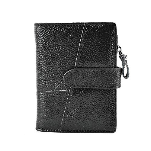 CloSoul Direct Herren Geldbörse aus achtem Leder mit Münzefach mit Reißverschluss hochformat Portemonnaie Geldbeutel khaki Schwarz 1