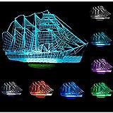 LOERO® Segelboot 3D Nachtlicht Schiff Modern100~240v Nacht 7 Farbwechsel LED Schreibtisch Tischleuchte Lampe (Farbe: Multicolor)