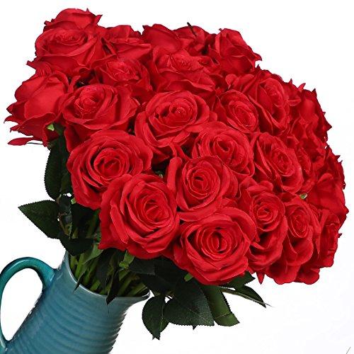 10 Stücke Künstliche Seidenrosen für die Vase, Gefälschte Rose Blumen für Hochzeit Home Birthday Party Garten Grab Dekorationen (Rot)