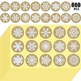 Outus 600 Pièces Autocollants Kraft Flocons de Neige Autocollants de Noël Flocon de Neige 1,5 Pouces Stickers Étiquettes Rondes Flocon de Neige pour Enveloppes Sacs Joints Décorations
