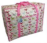 Grande stoccaggio rosa cavalli borsa motivo. Per lo stoccaggio del giocattolo, il lavaggio e la lavanderia borsa