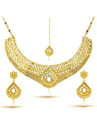 Rich Lady Gold Finish Ravishing Design Necklace Set With Maang Tikka