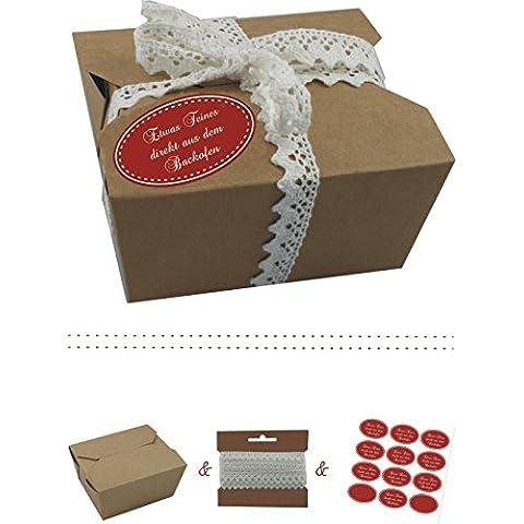 Il-label | 10 x scatole regalo in cartone con forza marrone colorati adesivi 10 x qualcosa Pasta di direttamente dal forno + uncinetto punta | Colore SCATOLE come confezione regalo o in scatola per torte | Cupcakes | Cioccolatini | Biscotti e molto altro dunkelrot-creme