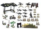 MAGMABRICK Tarnungs-Zelte, Stacheldraht, Baum, Motorrad, Sandsack, Schrotflinte-Maschinenpistole und Maschinengewehr im Wüsten-Schlachtfeld die für Großem Markenbaublock Mini-Figuren anfertigen