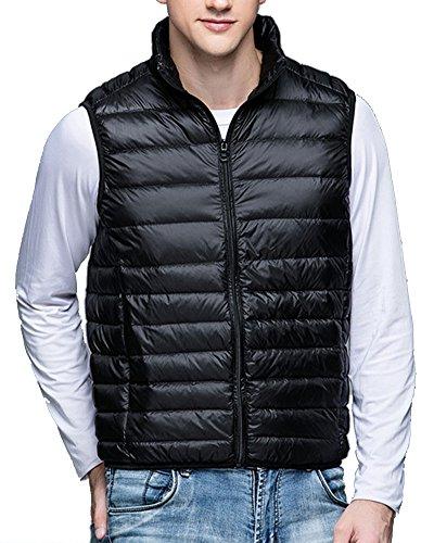 Chalecos de Plumas Ligero Sin Mangas Chaqueta Compresible Corta Abrigo de Invierno para Hombre Negro L