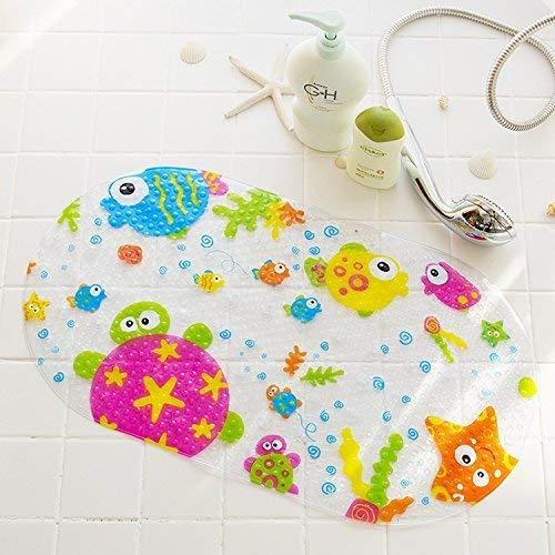 Ouken Rutschfeste Badematte Kinder Matte Dusche Matte mit Absaugung Tassen Bright Cartoon für Badewanne Kinder Matte, 15 x 27 Zoll (Star Fish) gedruckt.