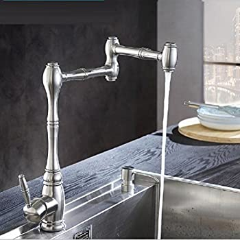 Amzh Kitchen Taps Stainless Steel Sink Faucet Vegetable Bowl Hot & Cold Single Hole Water Tap 360 Degree Rotation 2