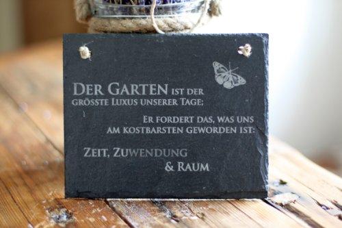 Schiefertafel schöner Gartenspruch -Garten ist der grösste Luxus unserer Tage Schiefer Schild Schmetterling