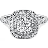 Ladies Ring-925 Sterling Silver Simulated Diamonds Double Halo Wedding Engagement Bridal Ring