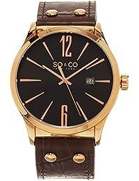Por lo tanto y Co de Nueva York del cuarzo de los hombres de la Madison reloj con esfera analógica y correa de piel color marrón 5098,3