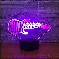 Rock Forever Guitarra 3D Lámpara Nocturna Accesorios de iluminación Aparatos Táctiles Control Remoto Led Mesita de