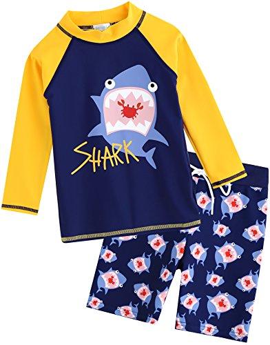 Vaenait Baby 2T-7T Kids Boys Rashguard Swimsuit Long Shirt and Shorts Set