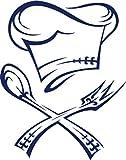 GRAZDesign 620023_50_049 Wandtattoo Küche Kochmütze mit Besteck   Küchen-Sprüche für Küchenwände   Wandsticker aus Markenfolie - für Esszimmer   top Geschenk für Mama (64x50cm//049 königsblau)