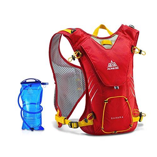 Lixada 8L Sport Rucksack mit Trinkblase/Ultraleicht Rucksack/Sport Schulter Satz Wasser Beutel für Herren Damen, Material: 60D Leichtes Wasserdichtes Nylon + 210D Terylene Rot