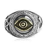 AMDXD Echtschmuck Ring 925 Silber Herren Mond Stern Auge der Vorsehung Silber Schwarz Größe 54 (17.2)