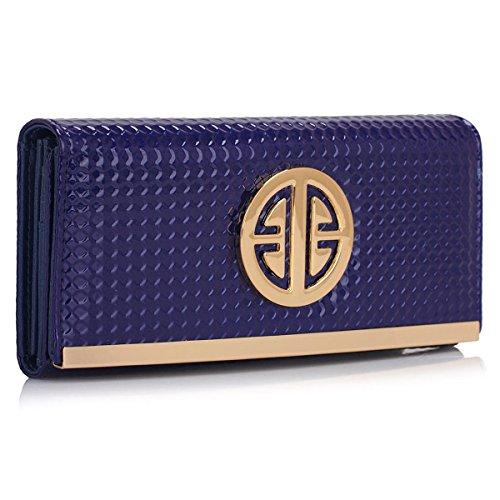 Xardi London nuovi portafoglio da donna in pelle sintetica verniciata Trifold-Portafoglio da donna con portamonete, Blu (Navy Style 2),