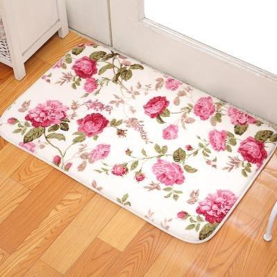 Coral-stoff-farbstoff (kooco Romantische Blumenmuster Raum Bodenmatten, Sweet Rose Print Teppiche für Wohnzimmer moderne, Coral Fleece Badezimmer Wasser Teppich. 40cm * 60cm, 1, 400mm x 600mm)