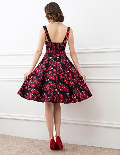 Dresstells Version5.0 Vintage 1950's Audrey Hepburn robe de soirée cocktail avec bretelles Noir à rose
