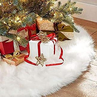 Sopito Faldas arbol Navidad, Piel sintética Faldas de árbol Blanco para Navidad Fiesta de año Nuevo Vacaciones en casa Decoraciones