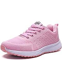 Decai Mujeres Zapatillas de Deportivos de Running para Mujer Gimnasia Ligero Sneakers Malla Transpirable con Cordones Zapatillas Deportivas para Correr Fitness Atlético Caminar Zapatos