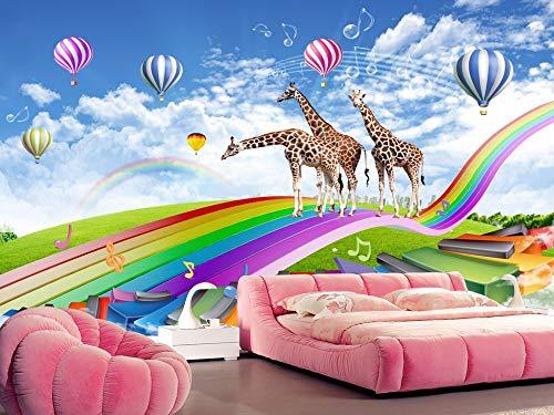 Wandbild Tapete Kinderzimmer Giraffe Regenbogen Brücke Verträumte 3D TV Sofa Hintergrund Wand Wohnkultur Benutzerdefinierte Beliebige Größe - Wallpaper Kostenlose Horror