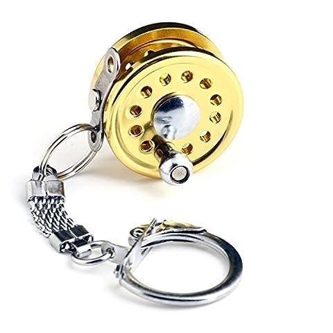 Primi miniature Moulinet de pêche en métal Porte-clés Porte-clés (Or)