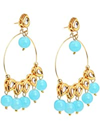 Zephyrr Jewellery Traditional Gold Tone Earrings With Kundan Meenakari Beads