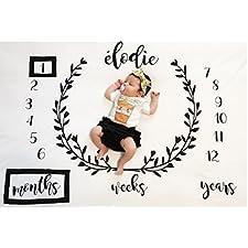 iKulilky Neugeborene Fotografie Requisiten Decke, Baby Requisiten gedruckt Baumwolle monatliche Meilenstein Wrap Swaddle Decken, Baby-Dusche-Geschenk