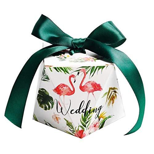 TENDYCOCO 50 Stücke Hochzeit Süßigkeitskästen Geschenkboxen mit Band für Party Favors Paar Flamingo Muster (L Größe)