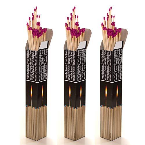 270 XXL Streichhölzer 28 cm, 3 x 90 Stück, Grillanzünder, Anzündhölzer für Grill, Kamin, Kerzen, Windlichter, Pfeifen