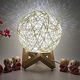 TianranRT Lampe de chevet 3D LED en rotin pour la lune et la nuit, Weiß