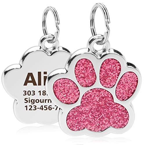 TagME Etichette Personalizzate per Cani e GattiTarghetta Acciaio Inossidabile con Nome e Numero di Telefono e IndirizzoRosa 39Adatto Cani di Taglia