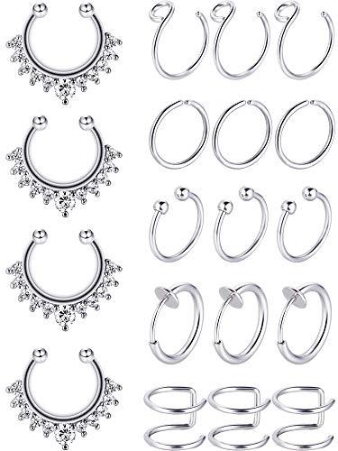 Blulu Gefälschte Nase Ring Hoop Set Edelstahl Nase Lip Ohr Ring Piercing Schmuck Septum Ring Non Pierced Clip auf Knorpel Manschette Körperschmuck, 19 Stück insgesamt, 6 Stile (Stahl Farbe)