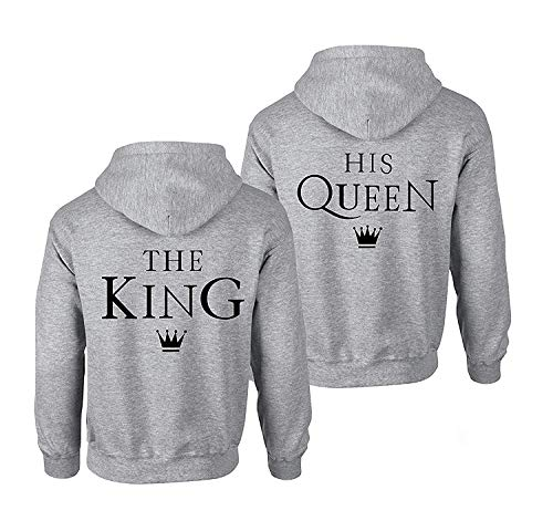 King Queen Pullover für Zwei Kapuzenpullover für Paare Paar Valentinstag Partner Geschenke Partnerlook Liebespaar Couple Mr Mrs Schwarz Grau Gold (Grau, King-XXXL + Queen-L) ()