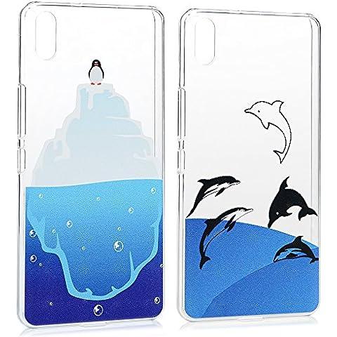 2 Piezas Carcasas BQ Aquaris X5 Funda PC Plástico Duro Ultra Fina Delgada Slim MAXFE.CO Cover con Dibujo de Delfín+Pingüino