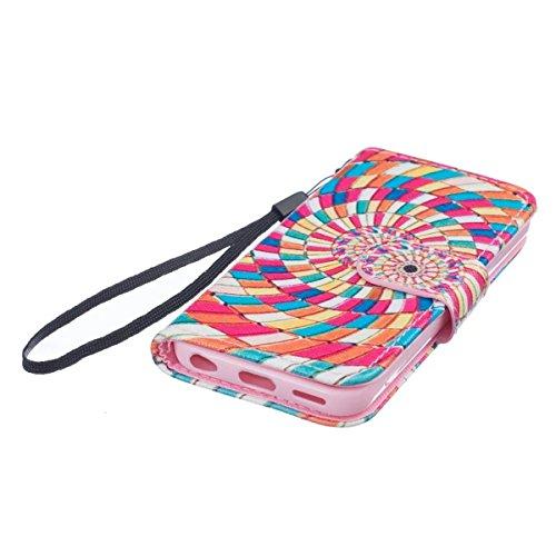 Coque iPhone 5C, Étui en cuir pour iPhone 5C, Lifetrut [Printed Patterns] Colorful Design Flip Portefeuille Case Couverture avec sangles pour iPhone 5C [Vertige] E202-Vertige