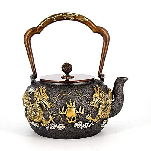 Kays Tetera Olla de Hierro Japonesa, Tetera de Hierro Fundido, Juego de té de Kungfu Hecho a Mano Puro (Patrón Negro/dragón)