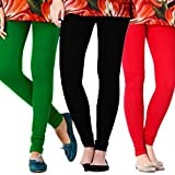 Gopani Multicolor Cotton Lycra Women's Leggings (3 Combo_Red_Green_Black Medium)