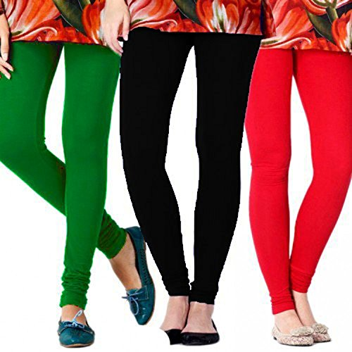 Gopani Multicolor Cotton Lycra Women\'s Leggings (3 Combo_Red_Green_Black Medium)