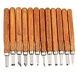 Cisixin 12 pièces Scalpelli per legno Set, Scalpelli da Intaglio Set Professionale Manuali Utensili Trinciante per Manico Intaglio Scultura Pottery Cera