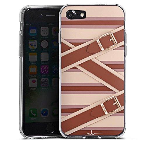 Apple iPhone X Silikon Hülle Case Schutzhülle Mode Leder Laschen Silikon Case transparent