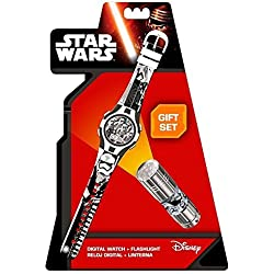 Kids Euroswan - Star Wars SWE7053 Gift Set Clock + Flashlight - Episode VII