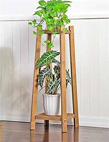 Antiseptic wood flower stand Solid Wood 2-tier Floor Flower Pot Shelf, Plant Stand, Flower Rack For Living Room, Balcony, Interior90 * 30 * 30cm Strong bearing