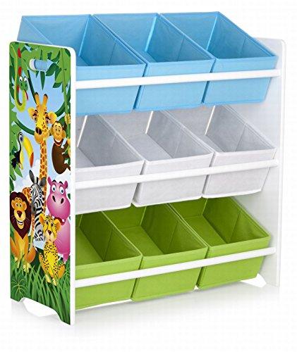 Leomark Holzregal, Regal für Spielzeug. Motiv: Dschungel. Aufbewahrungsregal, Spielzeugregal, Kinderregal, Spielzeugablage mit 9 Schubladen -