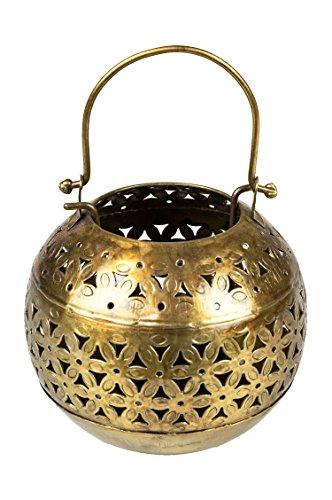Orientalisches Windlicht Laterne orientalisch Hindi 13cm Groß Gold Antik | Orientalische Vintage Teelichthalter Goldfarben innen und außen | Marokkanische Windlichter aus Metall als Ostern Dekoration
