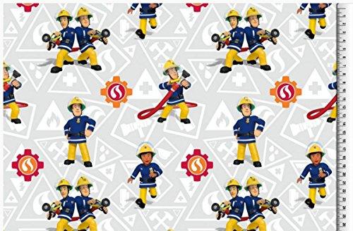 feuerwehrmann sam meterware Jersey Disney Feuerwehrmann Sam grau blau gelb rot Digitaldruck 1,5m Breite