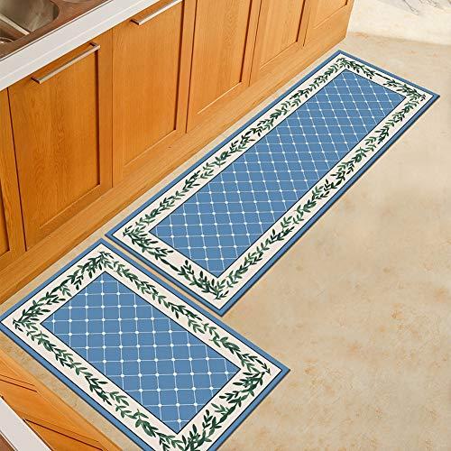 WJSW 2 Stück Rutschfeste Küchenmatte Rückseite Aus Gummi Fußmatte, Einfach Stil Läufer Teppich Set, 60 * 90 + 60 * 180CM,Two3,60 * 90+60 * 180CM